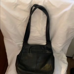 Large black leather tote by Fossil